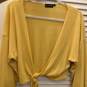 Pretty Little Thing yellow tie front top